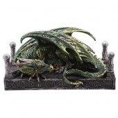 Zielony Smok przy kolumnach - figurka fantasy