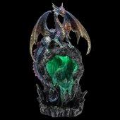 Smocza Jaskinia - figurka z lampką LED i podstawką na kadzidła backflow