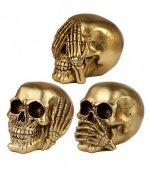 Trzy Mądre Czaszki złote - zestaw małych figurek