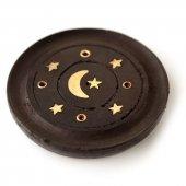 Księżyc i Gwiazdy - okrągła podstawka z drzewa mango na kadzidła długie