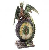 zegar dekoracyjny stojący - Zielony Smok na Skale