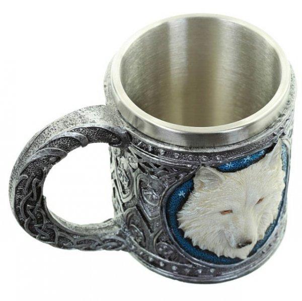wilczy kufel z białym wilkiem wilkorem prezent dla fana GoT Gry o Tron nerda geeka