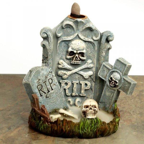 Nagrobek RIP i Czaszki Halloween - kadzielniczka na kadzidła stożkowe zwrotne, wieża dymna na spadający dym jak mgła
