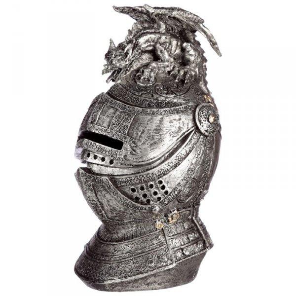 skarbonka w kształcie średniowiecznego hełmu rycerskiego z gargulcem