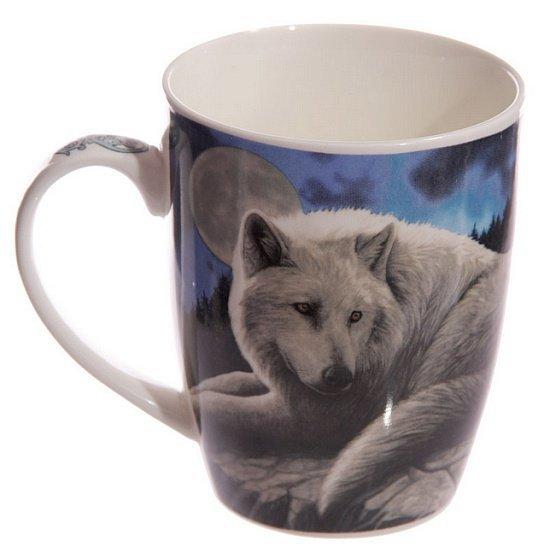 """gadżety i prezenty z wilkami - kubek z białym wilkiem """"Wilk Strażnik Północy"""" projekt Lisa Parker"""