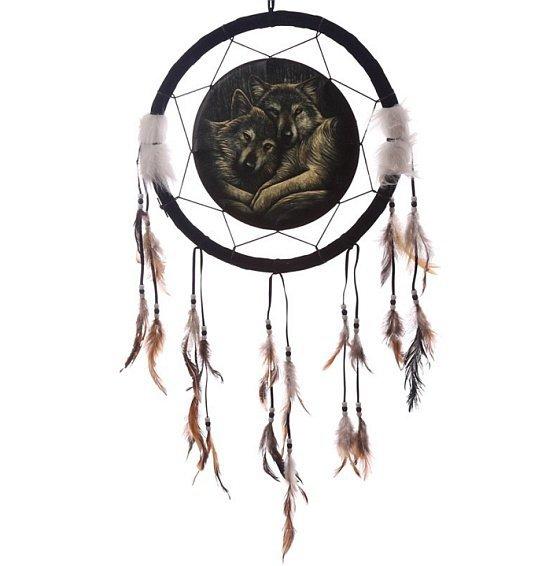 indiański łapacz snów z nadrukiem - Dwa Wilki