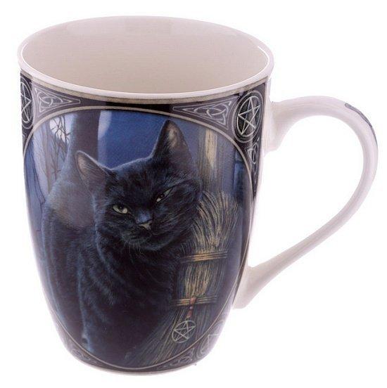magiczny kubek z kotem czarownicy - Kot i Magiczna Miotła, projekt: Lisa Parker