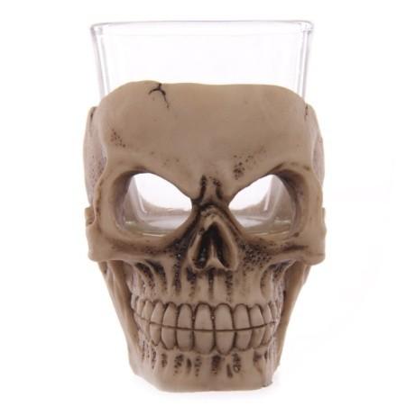 mały szklany kieliszek z czaszką - kieliszki w kształcie czaszek
