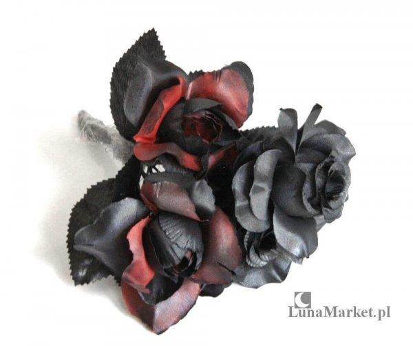 czarno-czerwone róże sztuczne - mały bukiet