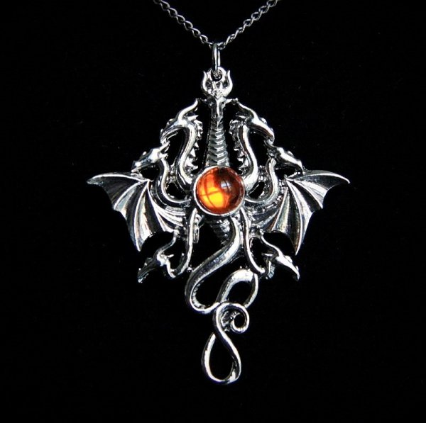 """naszyjnik """"Hydra"""" smok o wielu głowach, seria: Bestiariusz, talizman siły"""