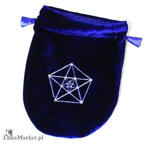 granatowy woreczek z aksamitu, sakiewka granatowa na karty tarota, runy, talizmany - Potrójny Pentagram