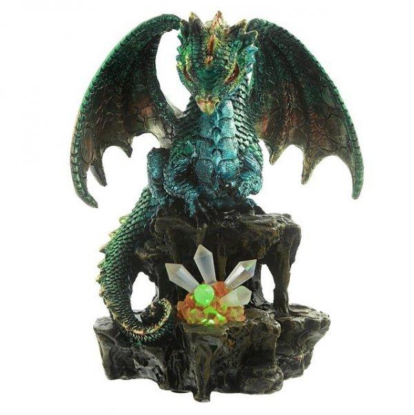 fantastyczne gadżety - figurka smoka z kryształem i lampka ledową