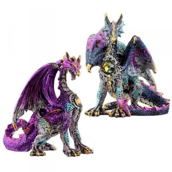figurki w stylu fantasy - Niebieski i Fioletowy Smok z Kryształem