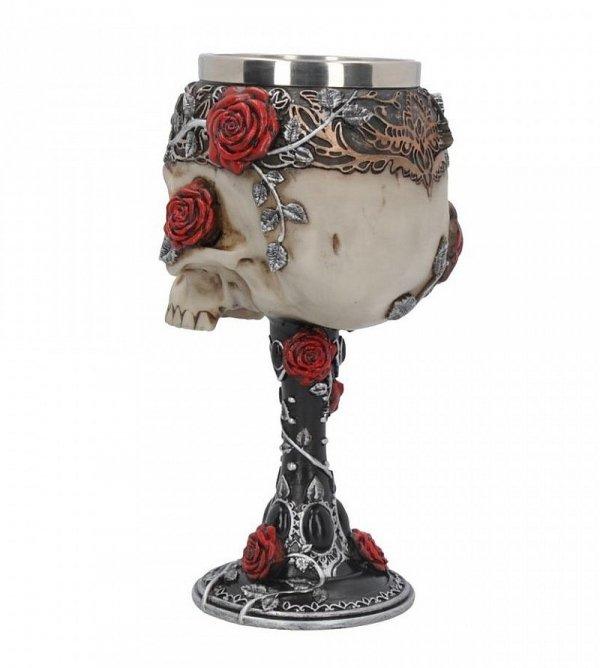 Gotyckie Róże - ozdobny, gotycki kielich z czaszką i różami