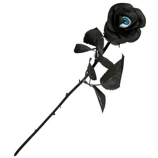 Czarna Róża z Okiem - kwiat sztuczny, długość 52 cm