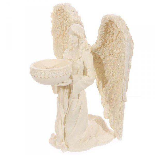 anielski świecznik - figurka Klęczący Anioł jasny