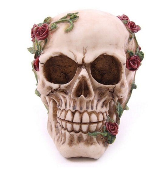 """figurka dekoracyjna """"Czaszka z Różami"""" w stylu alchemy gothic"""