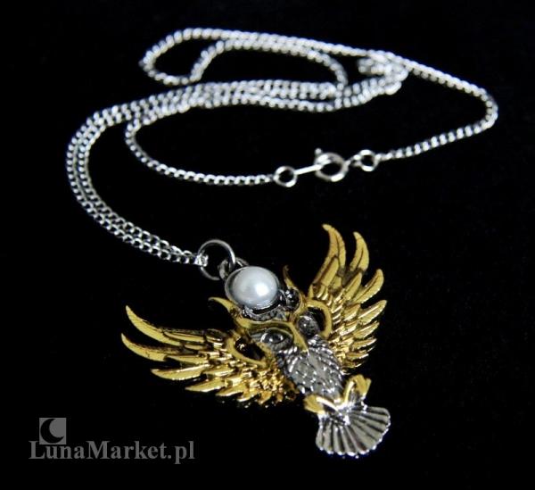 """naszyjnik """"Sowa Ateny"""" z serii: Bestiariusz, biżuteria magiczna i gotycka, talizman Mądrość"""