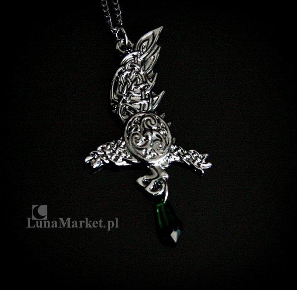 magiczny naszyjnik - Kruk Brana z zielonym kryształkiem, biżuteria celtycka