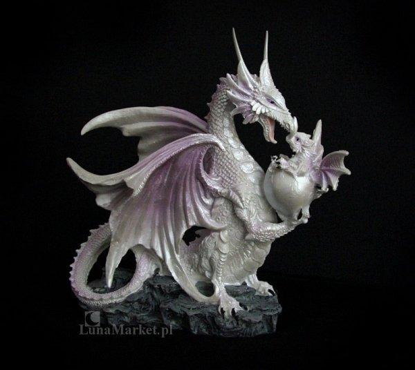 figurki i prezenty w stylu fantasy - Śnieżna Biała Smoczyca ze Smoczątkiem