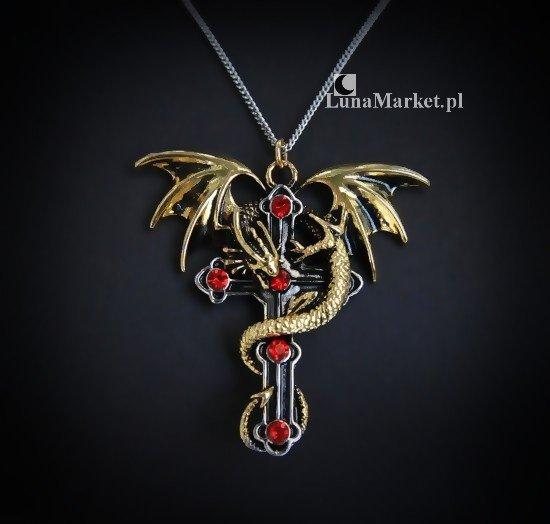 gotycki naszyjnik Crux Dragana Smoczy Krzyż - seria Carpe Noctum Anne Stokes