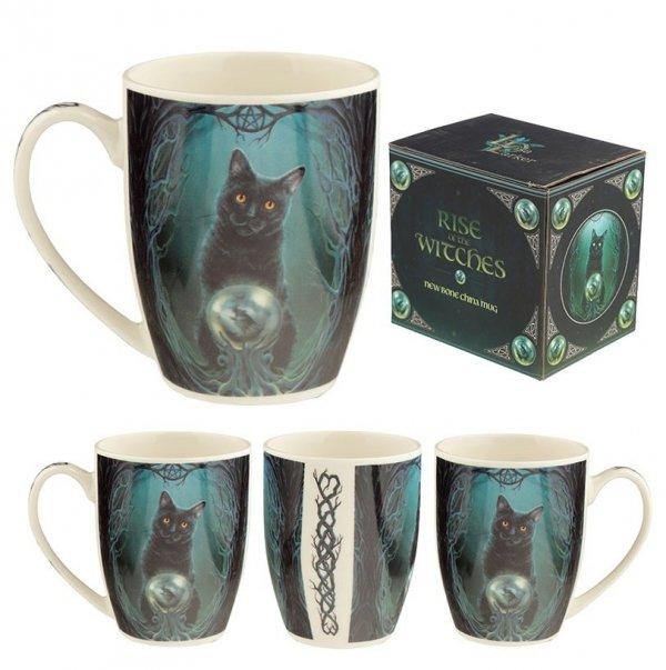 porcelanowy kubek z czarnym kotem - Lot Czarownic, projekt Lisa Parker
