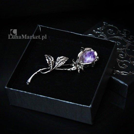 Fioletowa Róża - duża broszka z naturalnym ametystem - biżuteria magiczna i gotycka