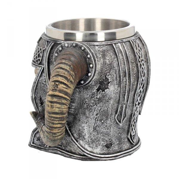 duży Kufel Czaszka Wikinga - czaszka w hełmie z rogami