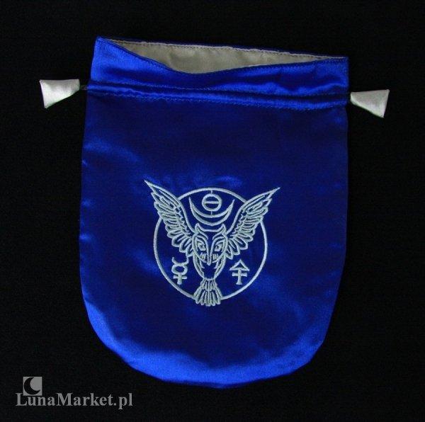 niebieski woreczek z satyny, sakiewka granatowa na karty tarota, runy, talizmany - Runiczna Sowa