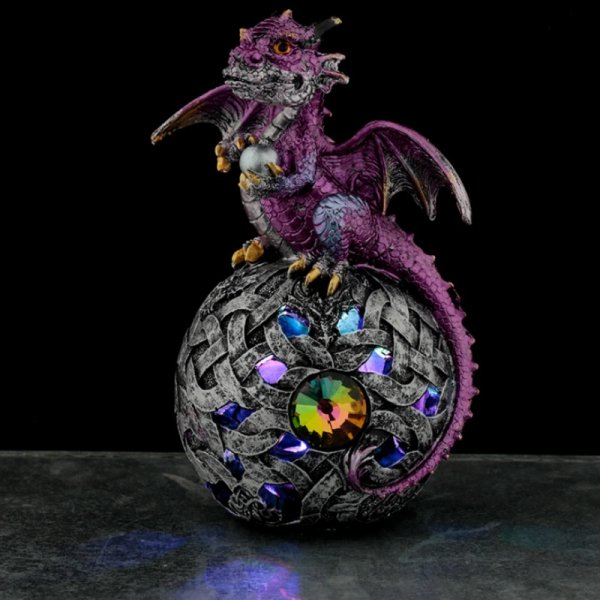 Fioletowy Smok na kuli - lampka nocna, figurka podświetlona lampką LED