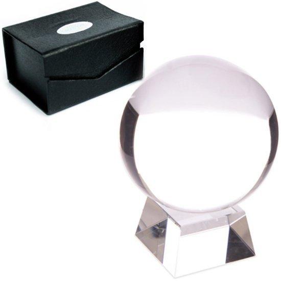 magiczna kula kryształowa (szklana) w pudełku, wielkość 13 cm, z podstawką