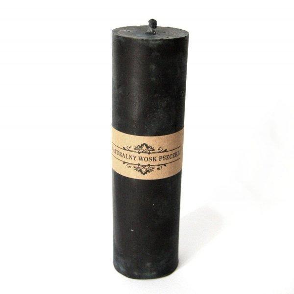 czarna świeca woskowa w kształcie walca - świeczka z naturalnego wosku pszczelego