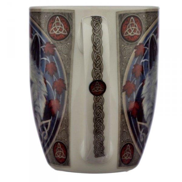 """porcelanowy kubek z nadrukiem Biały Wilk """"Jesienny Opiekun"""" projekt: Lisa Parker"""