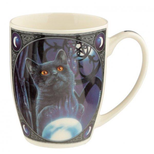kubek z magicznym czarnym kotem - Uczeń Czarownicy, projekt Lisa Parker