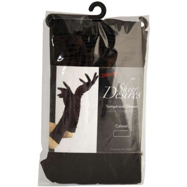 długie rękawiczki wieczorowe z czarnej satyny - eleganckie, czarne dług. 45cm