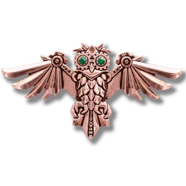 """broszka w stylu steampunk mechaniczna sowa """"Aviamore Owl"""" seria Engineerium by Anne Stokes"""