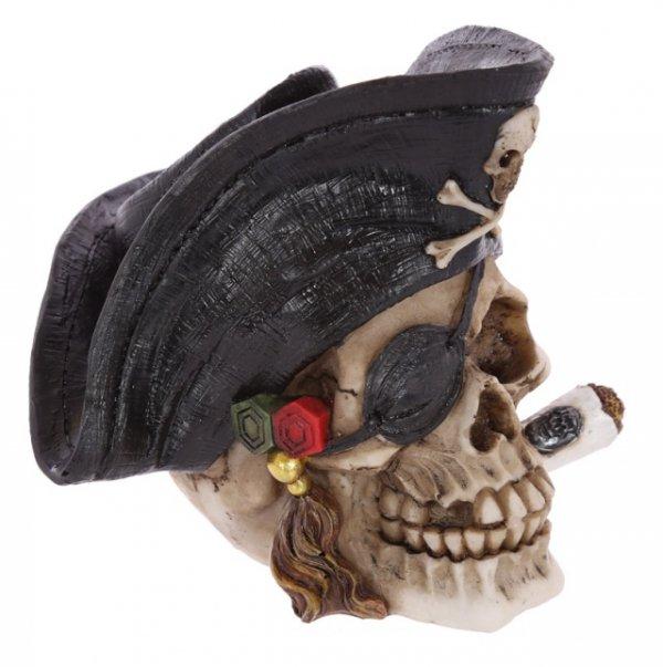 figurka czaszka pirata w kapeluszu i z cygarem
