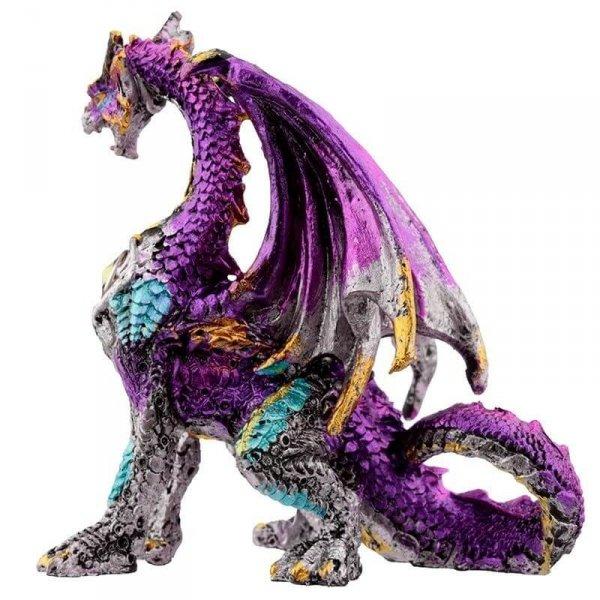 figurka w stylu fantasy - Fioletowy Smok z Kryształem