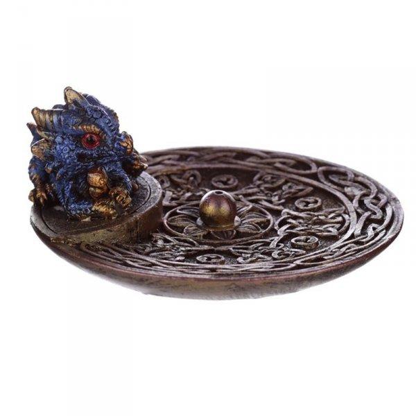 Miseczka z Niebieskim Smokiem - okrągła kadzielniczka, podstawka na długie kadzidła