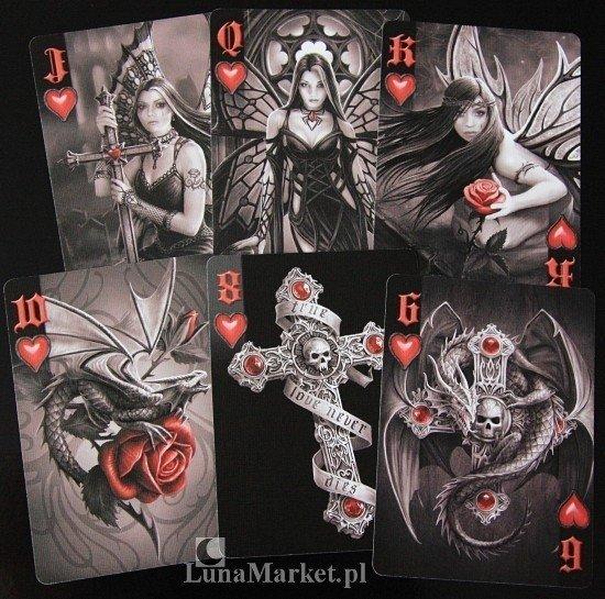 Anne Stokes Dark Hearts - klasyczne karty do gry marki Bicycle
