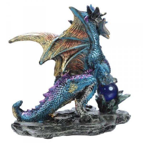 "Niebieski Smok z Magiczną Kulą - figurka Enchanted Nightmare Dragon ""Crystal Rock Soothsayer"""