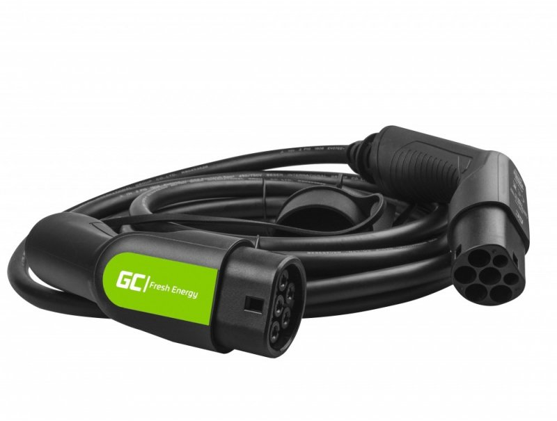 Kabel Green Cell GC EV Type 2 22kW 7m do ładowania Tesla Model 3 / S / X, Leaf, ZOE, i3, ID,3, I-Pace, E-Tron, Taycan