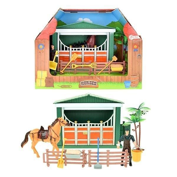 Stajnia dla koni z figurką jeźdźca i akcesoriami