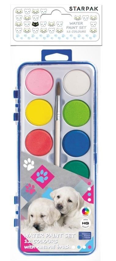 Farby akwarelowe 12 kolorów Pieski