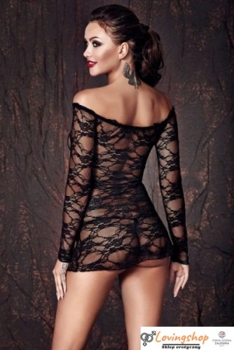 Bielizna-Lynette black chemise M (halka&string)
