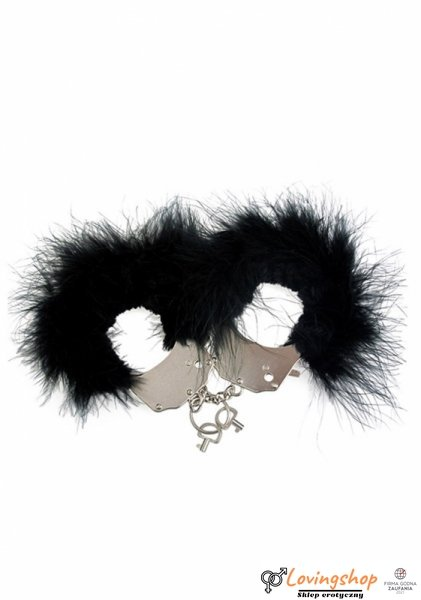 Kajdanki-Śmieszna zabawka-kadanki - Metallic Handcuffs,Feather Cov.. Black