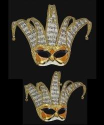 Maska wenecka - Colombina Jolly Fly Musica Ocher