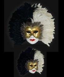 Maska wenecka - Volto Piume Sera Black/White