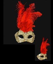 Maska wenecka - Colombina Piume Macramè Gold Red