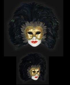 Maska wenecka - Volto Piume Sera Black